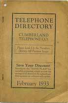 Thumbnail image of Cumberland 1933 Telephone Directory cover
