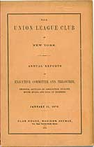 Thumbnail image of Union League Club Annual Report for 1872 cover