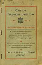 Thumbnail image of Creston 1926 Fall Telephone Directory cover