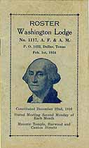 Thumbnail image of Washington Lodge, No. 1117, 1934 Roster cover