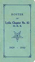 Thumbnail image of Lydia Chapter No. 83, 1930 Roster cover