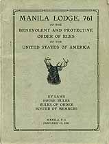 Thumbnail image of Manila Lodge, No. 761, B.P.O.E. 1914 Roster cover