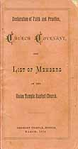 Thumbnail image of Union Temple Baptist 1874 List of Members cover