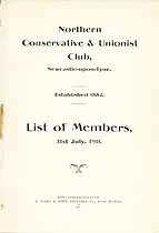Thumbnail image of Northern Conservative & Unionist Club 1911 Members cover
