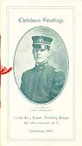 Thumbnail image of Coast Artillery Corps 111th Co. 1915 Christmas Dinner Menu cover