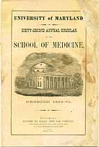 Thumbnail image of Univ. of Maryland School of Medicine 1869 Catalogue cover