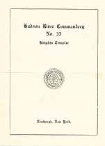 Thumbnail image of Hudson River Commandery, No. 35, K. T., List of 1921 Officers cover