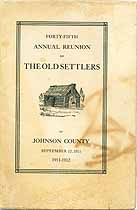 Thumbnail image of Johnson County Old Settlers 1911 Reunion cover