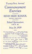 Thumbnail image of Bend High School 1929 Commencement cover