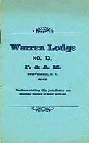 Thumbnail image of Warren Lodge No. 13 1915 Roster cover