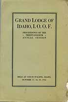 Thumbnail image of Grand Lodge of Idaho, I.O.O.F. 1916 Proceedings cover