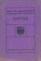 Thumbnail image of Grand Lodge of Idaho, I.O.O.F. 1919 Proceedings cover