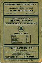 Thumbnail image of Crawfordsville Telephone 1924 Directory cover