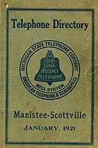 Thumbnail image of Manistee-Scottville 1921 Telephone Directory cover