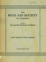 Thumbnail image of California Boys Aid Society 1922 Report cover