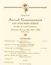 Thumbnail image of Red Wing High School 1924 Commencement cover