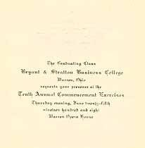 Thumbnail image of Bryant & Stratton 1908 Commencement cover
