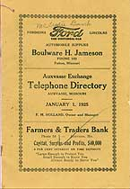 Thumbnail image of Auxvasse Exchange 1925 Telephone Directory cover