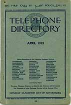 Thumbnail image of Pennsylvania Regional Telephone 1923 Directory cover