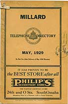 Thumbnail image of Millard (NE) 1929 Telephone Directory cover