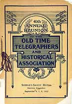 Thumbnail image of Old Time Telegraphers and Historical Association 1923 Reunion cover