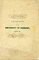 Thumbnail image of University of Vermont 1853-4 Catalogue cover