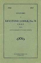 Thumbnail image of History of Keystone Lodge, No. 78 of I.O.O.F. cover