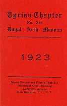 Thumbnail image of Tyrian Royal Arch Chapter No. 219, 1923 Roster cover