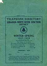 Thumbnail image of Lebanon District 1927-1928 Winter-Spring Telephone Directory cover