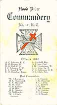 Thumbnail image of Hood River Commandery, No. 12, K. T., 1931 Directory cover