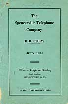 Thumbnail image of Spencerville 1924 Telephone Directory cover