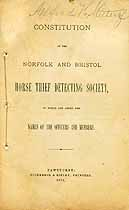 Thumbnail image of Norfolk and Bristol Horse Thief Detecting Society 1874 Members cover