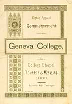 Thumbnail image of Geneva College 1888 Commencement Program cover