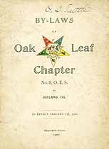 Thumbnail image of Oak Leaf Chapter, No. 8, OES 1900 By-Laws cover