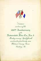Thumbnail image of Neversink Fire Co, No. 3 100th Anniversary Menu cover