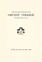Thumbnail image of Grundy College 1929 Commencement cover