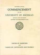 Thumbnail image of University of Michigan 1924 Commencement cover