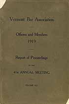 Thumbnail image of Vermont Bar Association 1919 Officers and Members cover