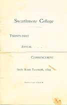 Thumbnail image of Swarthmore College 1893 Commencement cover