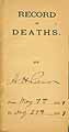 Thumbnail image of Record of Deaths May 1889-Aug 1889 cover