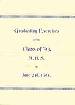 Thumbnail image of M. H. S. 1893 Graduating Exercises cover