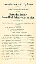 Thumbnail image of Muscatine County Horse-Thief Association 1911 By-Laws cover