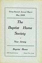 Thumbnail image of New Jersey Baptist Home Society 1928 Report cover