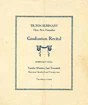 Thumbnail image of Tilton Seminary 1922 Graduation Recital cover