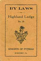 Thumbnail image of Highland Lodge, No. 19, K. of P. 1928 By-Laws cover