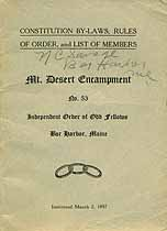 Thumbnail image of Mt. Desert Encampment, No. 53, of I.O.O.F. History cover