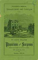 Thumbnail image of St. Louis College of Physicians 1889 Catalogue cover