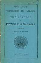 Thumbnail image of Boston College of Physicians 1884-1885 Catalogue cover