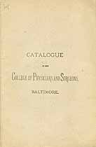 Thumbnail image of Baltimore College of Physicians 1881 Catalogue cover