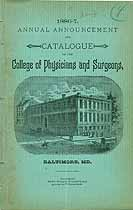 Thumbnail image of Baltimore College of Physicians 1886-7 Catalogue cover